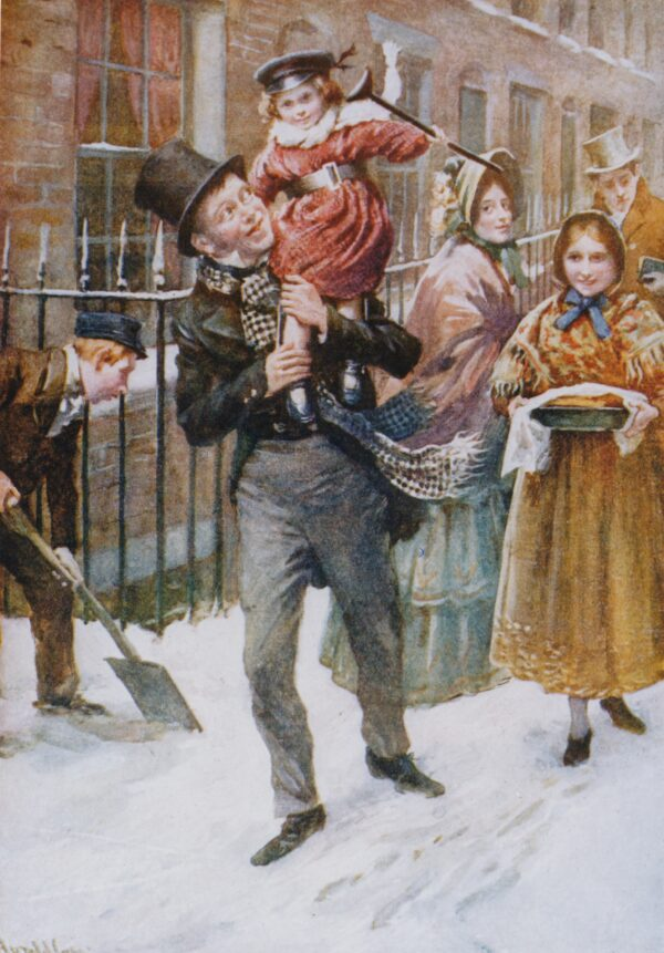 Bob Cratchit and Tiny Tim, Illustrated by Harold Copping _(copyright Charles Dickens Museum)