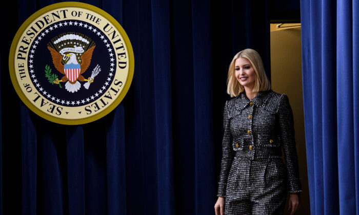 Ivanka Trump arrives to speak at the White House Summit on Child Care and Paid Leave in Washington, DC, on Dec. 12, 2019. Brendan Smialowski/AFP via Getty Images
