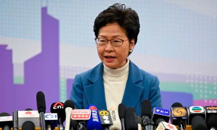 Hong Kong leader Carrie Lam attends a press conference in Beijing on Dec. 16, 2019. (Wang Zhao/AFP via Getty Images)