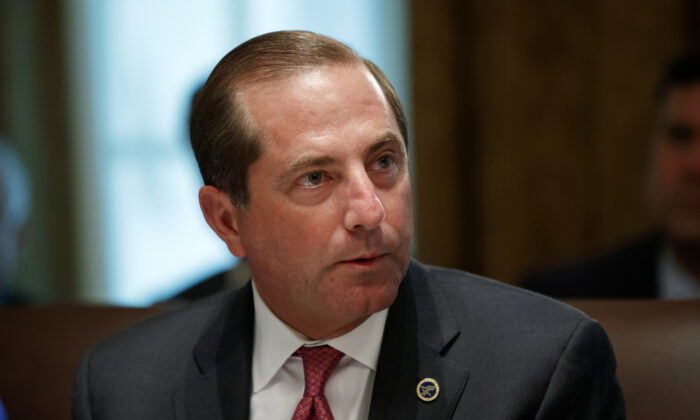 Health and Human Services Secretary Alex Azar pauses while speaking during a Cabinet meeting at the White House on July 16, 2019. (Alex Brandon/AP Photo)