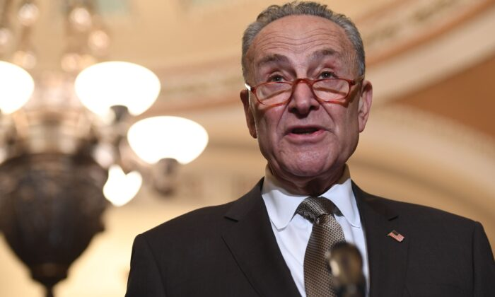 Senate Minority Leader Chuck Schumer (D-N.Y.) speaks during a press conference at the U.S. Capitol in Washington on Dec. 10, 2019. (Saul Loeb/AFP via Getty Images)