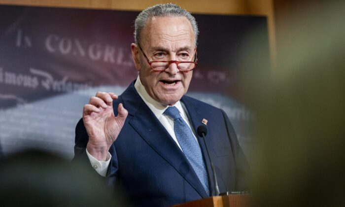 Senate Minority Leader Chuck Schumer (D-N.Y.) holds a press conference at the U.S. Capitol in Washington on Dec. 16, 2019. (Samuel Corum/Getty Images)