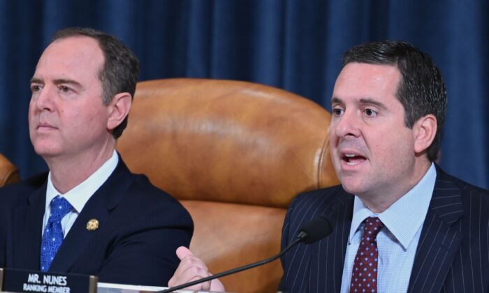 House Intelligence ranking member Devin Nunes (R-Calif.), right, and House Intelligence Chairman Adam Schiff (D-Calif.), at a committee hearing in Washington on Nov. 20, 2019. (Andrew Caballero-Reynolds/AFP via Getty Images)