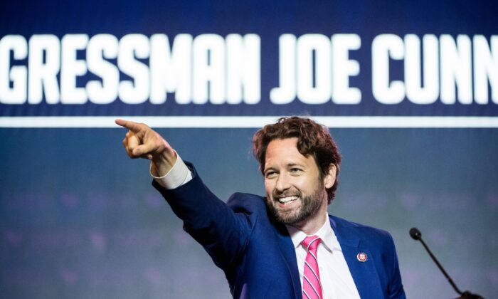Rep. Joe Cunningham (D-S.C.) addresses the crowd at the 2019 South Carolina Democratic Party State Convention in Columbia, South Carolina on June 22, 2019. (Sean Rayford/Getty Images)