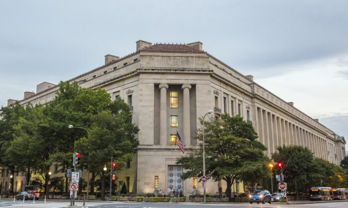 The Department of Justice in Washington on Sept. 22, 2017. (Samira Bouaou/The Epoch Times)