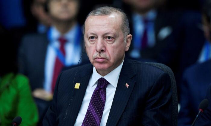 Turkish President Tayyip Erdogan attends a NATO leaders summit in Watford, Britain, on Dec. 4, 2019. (Toby Melville/Reuters)