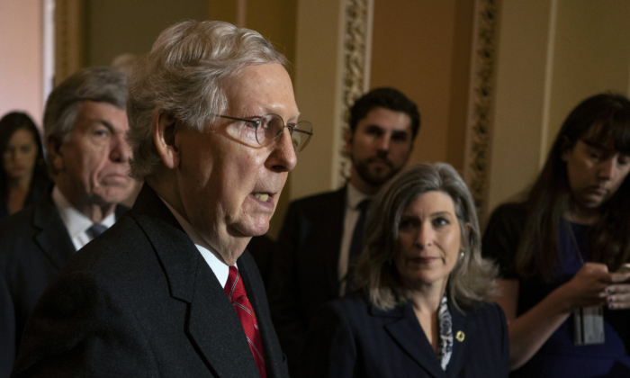 Senate Majority Leader Mitch McConnell (R-KY) speaks during his weekly press conference at the U.S. Capitol  in Washington on Nov. 19, 2019. (Alex Edelman/Getty Images)