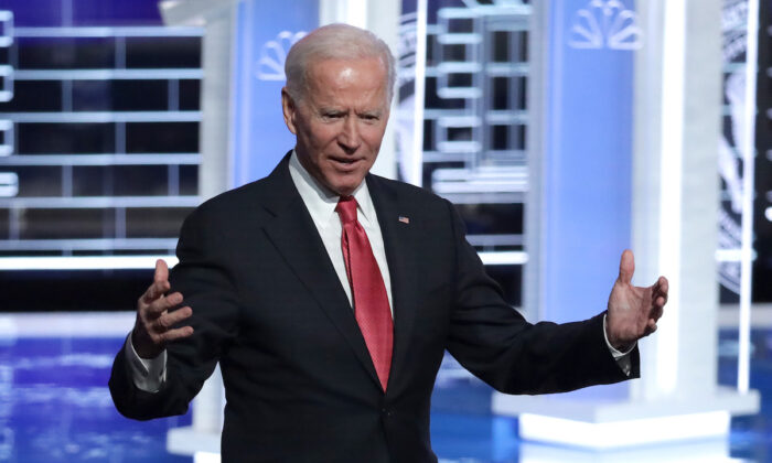 Former Vice President Joe Biden greets the audience after the Democratic Presidential Debate at Tyler Perry Studios in Atlanta, Ga., on Nov. 20, 2019.  (Alex Wong/Getty Images)
