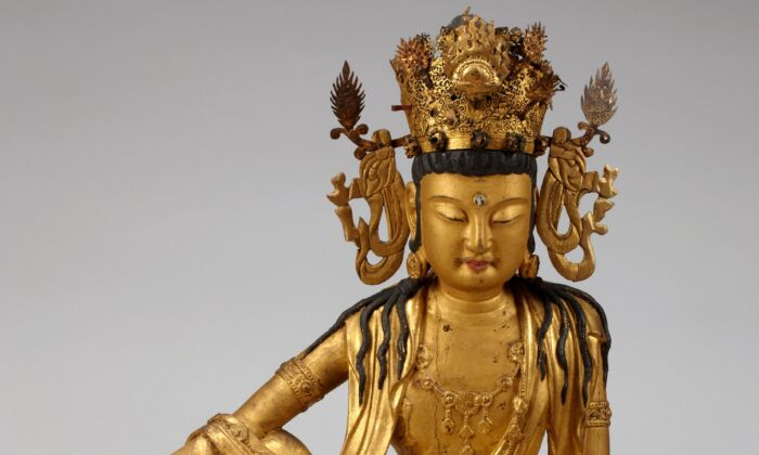 Bodhisattva Avalokiteshvara (Gwaneum) Korea, Goryeo Dynasty, circa 1220–1285. Gilt wood and gilt copper and iron with crystal inlays. (National Museum of Korea, Seoul)