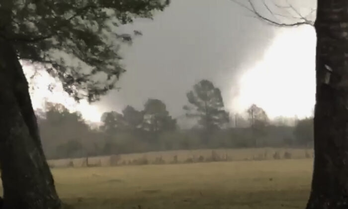This photo provided by Heather Welch shows a tornado in Rosepine, La., on Dec. 16, 2019. (Heather Welch via AP)
