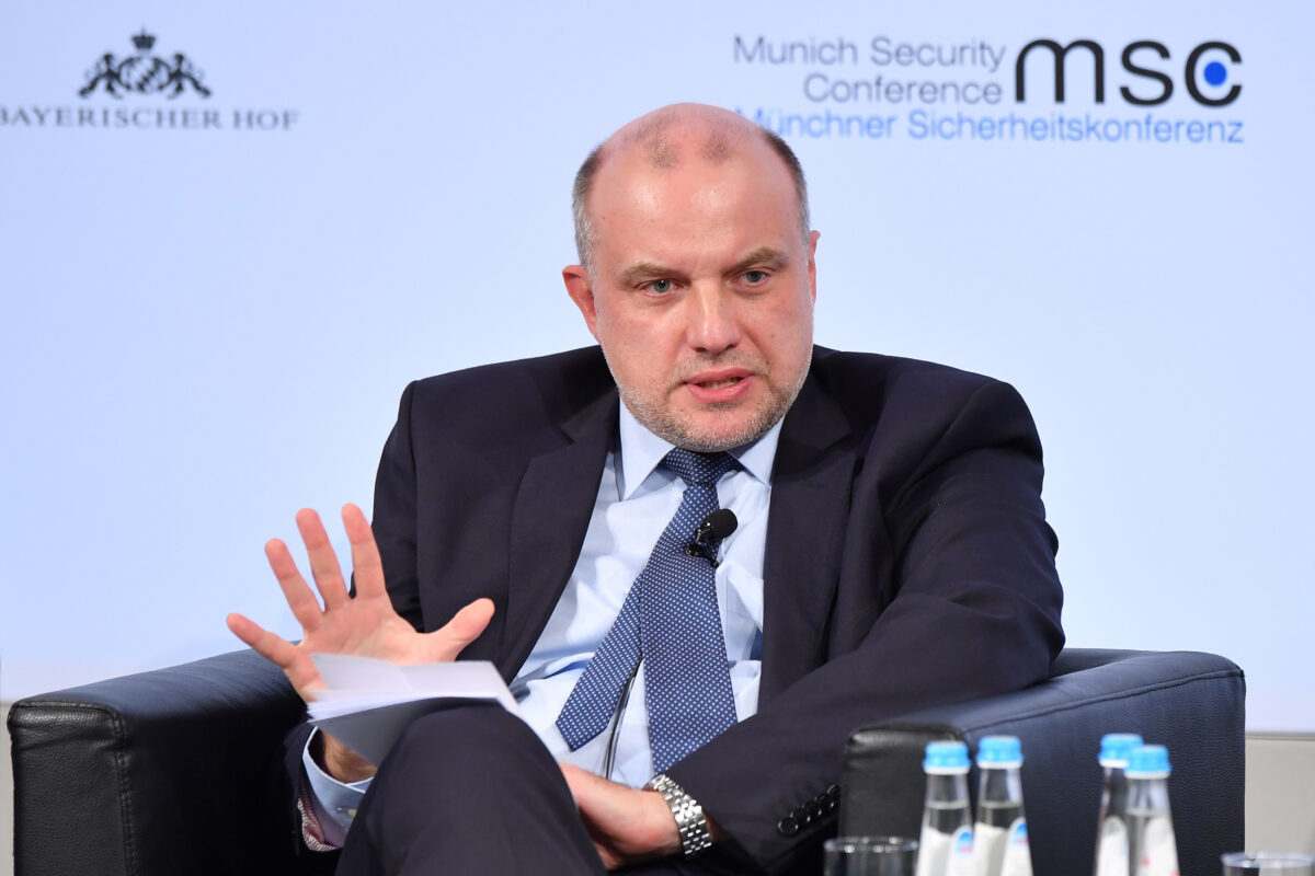 Estonian Defense Minister Juri Luik participates in a panel talk at the 2018 Munich Security Conference on February 16, 2018 in Munich, Germany. (Sebastian Widmann/Getty Images)