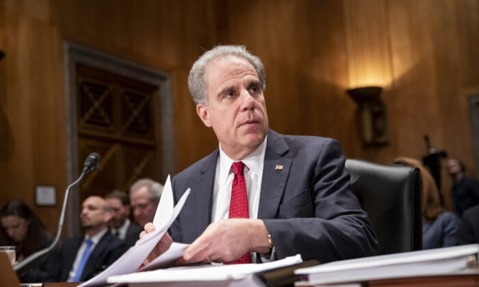 Department of Justice Inspector General Michael Horowitz prepares to testify in a Senate Committee On Homeland Security And Governmental Affairs hearing on Dec. 18, 2019. (Samuel Corum/Getty Images)
