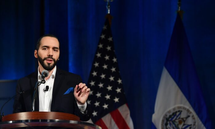 The President of El Salvador Nayib Bukele speaks at a conference on the 2019 Forecast on Latin America and the Caribbean in Washington on Oct. 1, 2019. (Nicholas Kamm/AFP/Getty Images)