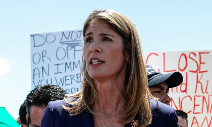 Rep. Lori Trahan (D-Mass.) addresses the media after touring the Clint, TX Border Patrol Facility in Clint, Texas, on July 1, 2019. (Christ Chavez/Getty Images)
