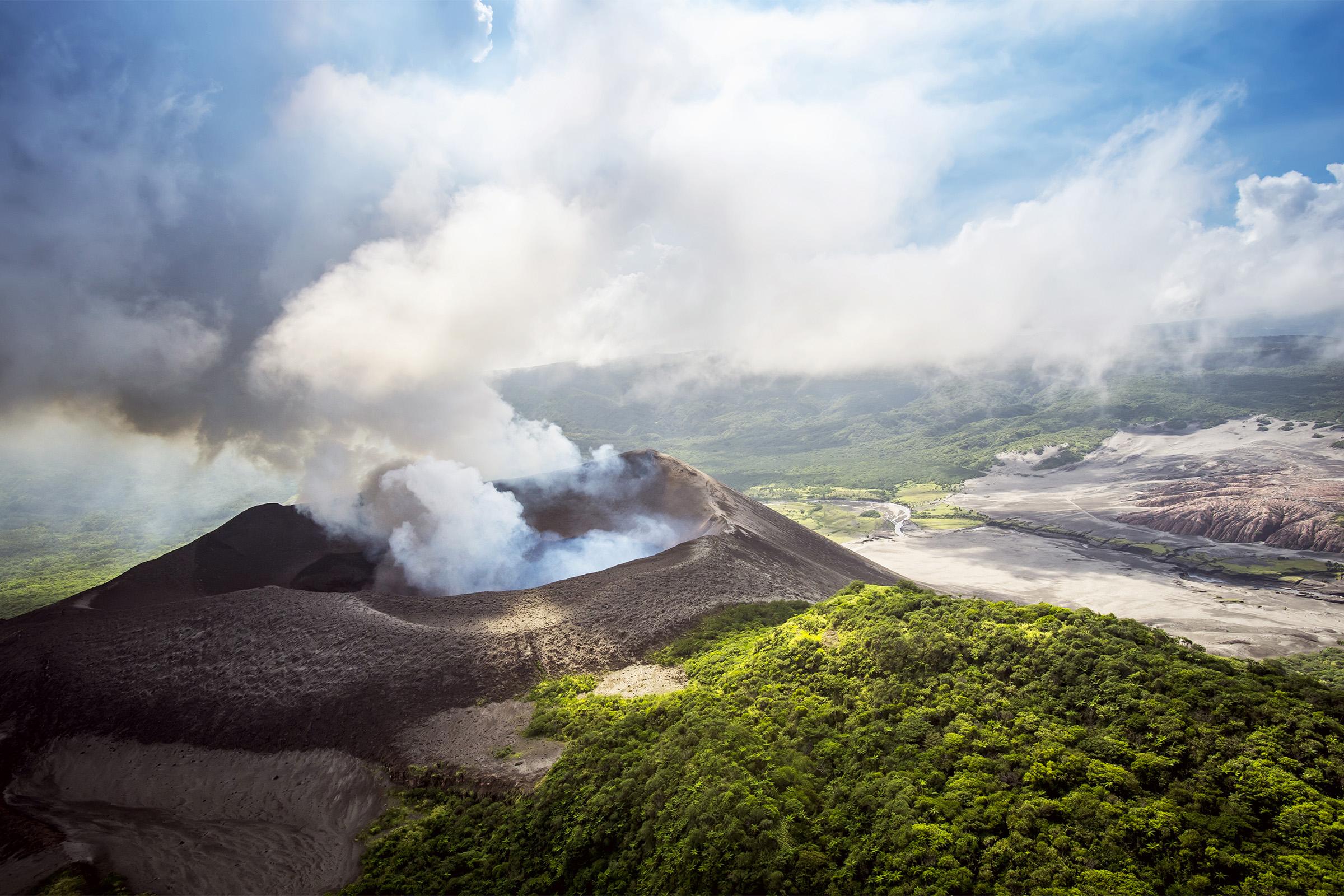 Aerial view of Yasure Volcano; Tanna Island, Vanuatu