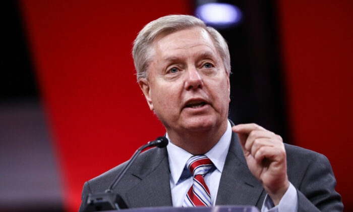 Sen. Lindsey Graham (R-S.C.) at the CPAC convention in National Harbor, Md., on Feb. 28, 2019. (Samira Bouaou/The Epoch Times)