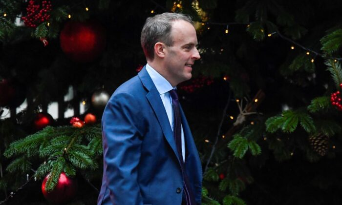 Britain's Foreign Secretary Dominic Raab is seen at Downing Street in London, Britain, Dec. 17, 2019. (Toby Melville/Reuters)