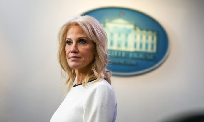 Kellyanne Conway, counselor to the president, speaks to media at the White House in Washington on Dec. 18, 2019. (Charlotte Cuthbertson/The Epoch Times)