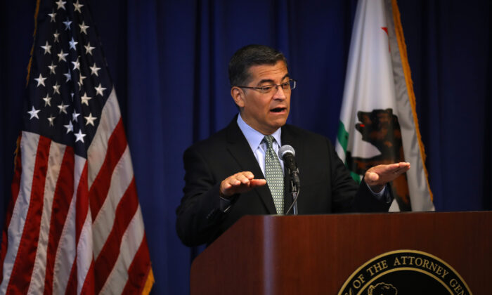California Attorney General Xavier Becerra speaks during a news conference at the California Justice Department in Sacramento, Calif., on Sept. 18, 2019. (Justin Sullivan/Getty Images)