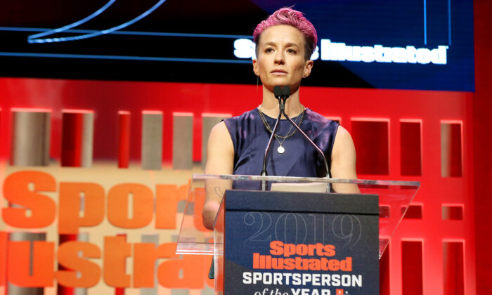 Sports Illustrated Sportsperson of the Year Award Winner Megan Rapinoe speaks onstage at The Ziegfeld Ballroom in New York City on Dec. 09, 2019. (Bennett Raglin/Getty Images for Sports Illustrated Sportsperson of the Year 2019)