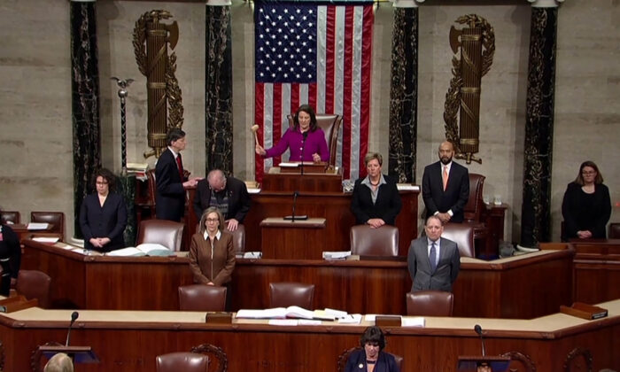 Rep. Diana Degette, member presiding over the U.S. House of Representatives, pounds the gavel to open the session to discuss rules ahead a vote on two articles of impeachment against U.S. President Donald Trump on Capitol Hill in Washington, in a still image from video on Dec. 18, 2019. (House TV via Reuters)