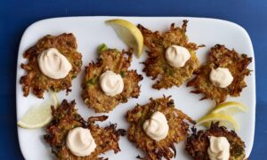 Lacy Squash Latkes With Roasted Garlic Aioli