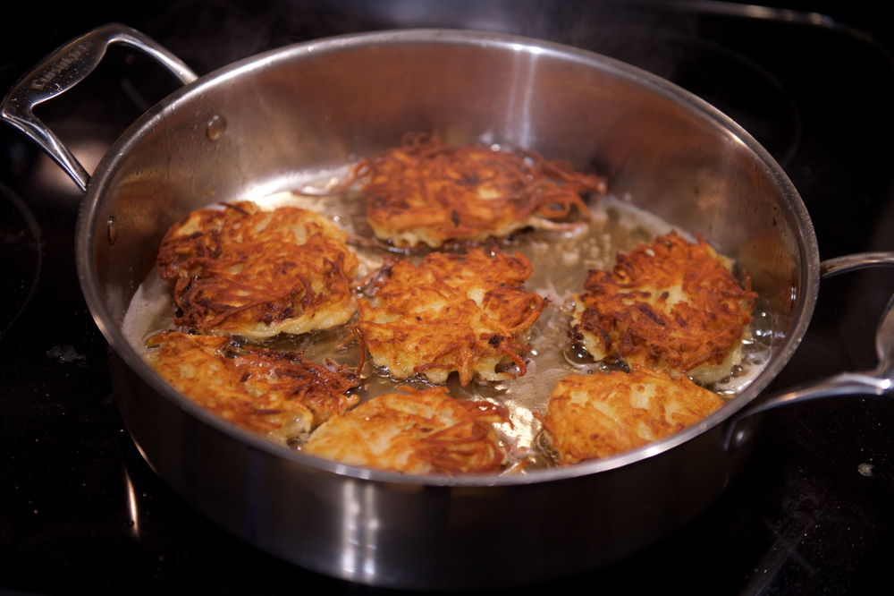 Latkes Being Made
