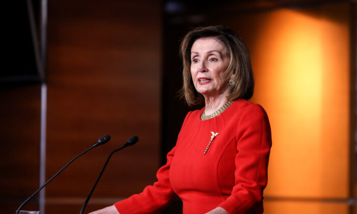 House Speaker Nancy Pelosi (D-Calif.) speaks to media at the Capitol in Washington in a Dec. 19, 2019, file photograph. (Charlotte Cuthbertson/The Epoch Times)