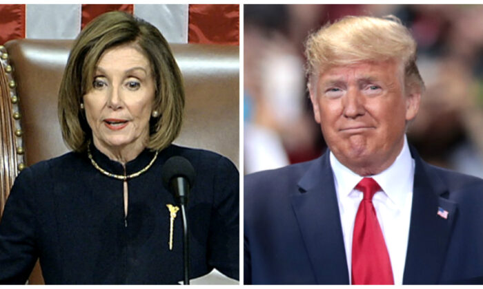 (L) House Speaker Nancy Pelosi (D-Calif.) in a file photo. (House Television via AP); President Donald Trump in a file photo. (Scott Olson/Getty Images)