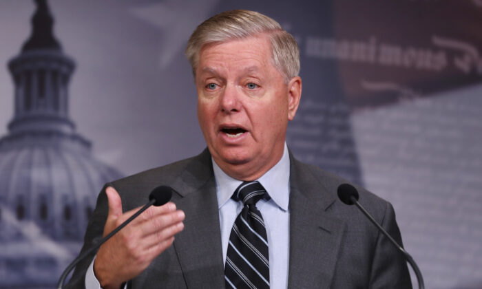 Senate Judiciary Chairman Lindsey Graham (R-S.C.) holds a press conference at the U.S. Capitol in Washington on Dec. 9, 2019. (Chip Somodevilla/Getty Images)