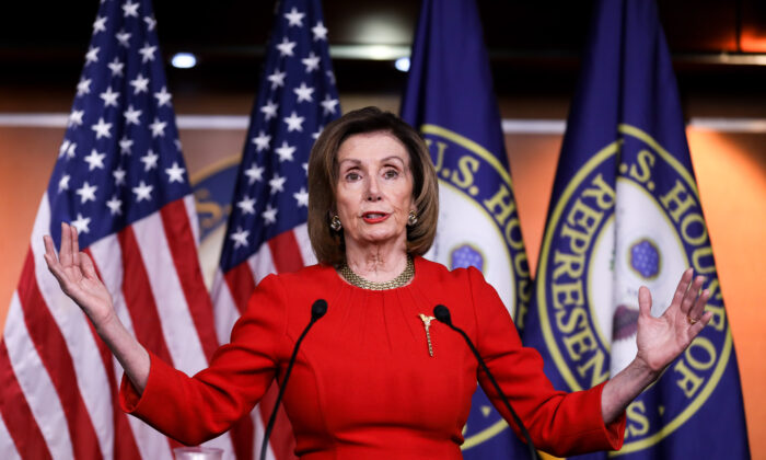 House Speaker Nancy Pelosi (D-Calif.) speaks to media at the Capitol in Washington on Dec. 19, 2019. (Charlotte Cuthbertson/The Epoch Times)