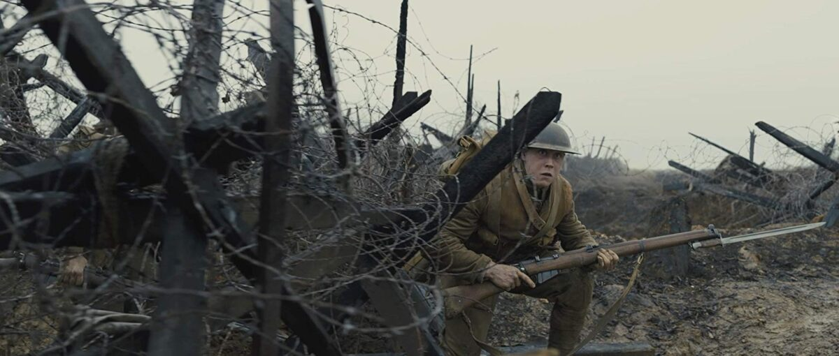soldier with rifle in no-man's-land