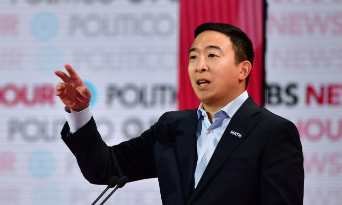 Democratic presidential hopeful entrepreneur Andrew Yang speaks during the sixth Democratic primary debate of the 2020 presidential campaign season co-hosted by PBS NewsHour & Politico at Loyola Marymount University in Los Angeles, California on Dec. 19, 2019. (FREDERIC J. BROWN/AFP via Getty Images)