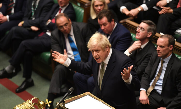 Britain's Prime Minister Boris Johnson speaks during the debate on the Queen's Speech in the House of Commons Chamber, in London, Britain, on Dec. 19, 2019. (©UK Parliament/Jessica Taylor/Handout via Reuters)