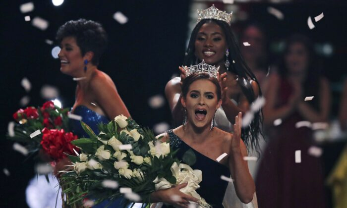 Camille Schrier, of Virginia, reacts reacts as she is crowned after winning the Miss America competition at the Mohegan Sun casino in Uncasville, Conn., on Dec. 19, 2019. (Charles Krupa/AP Photo)