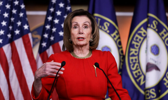 House Speaker Nancy Pelosi (D-Cali.) speaks to media at the Capitol in Washington on Dec. 19, 2019. (Charlotte Cuthbertson/The Epoch Times)