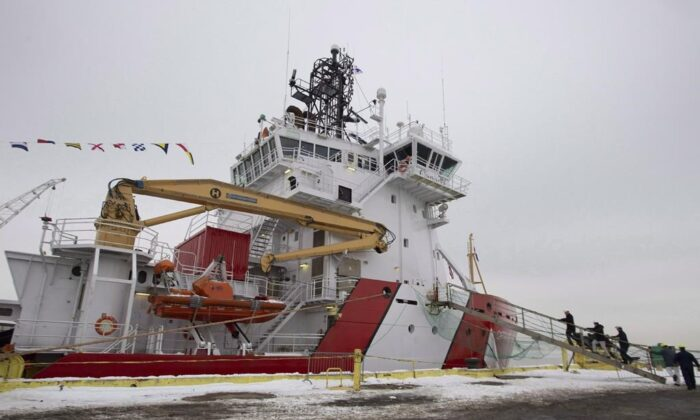 The CCGS Captain Molly Kool is presented to the media after undergoing refit and conversion work at the Davie shipyard on Dec. 14, 2018 in Levis, Quebec. (The Canadian Press/Jacques Boissinot)