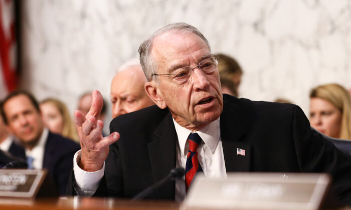Sen. Chuck Grassley (R-Iowa) speaks during Judge Brett M. Kavanaugh confirmation hearing before the Senate Judiciary Committee to serve as Associate Justice on the U.S. Supreme Court at the Capitol in Washington on Sept. 4, 2018. (Samira Bouaou/The Epoch Times)