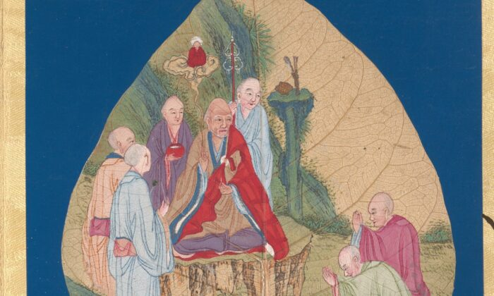 A detail from one page in an album depicting luohans (enlightened beings), 17th–18th century, by an unknown artist. Metropolitan Museum of Art. (Public Domain)