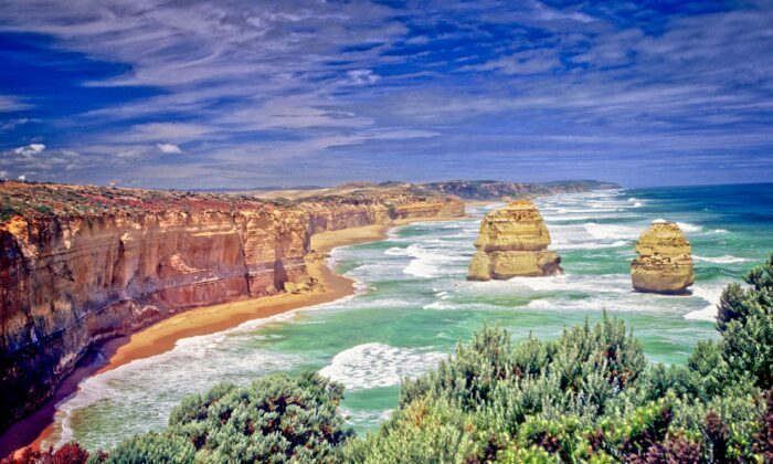 This collection of limestone stacks in proximity to one another by the Great Ocean Road in Victoria is a popular tourist attraction known as The Twelve Apostles. There were never more than nine of these apostles and that ninth one collapsed in 2005. (Fred J. Eckert)