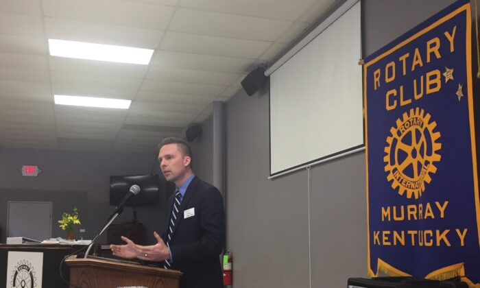 Swan speaks at a Rotary Club meeting. (Courtesy of Asa James Swan)