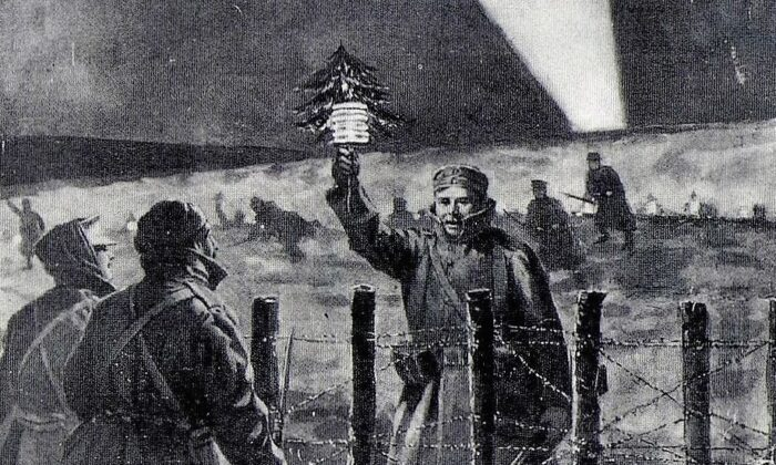"""A depiction of the 1914 Christmas truce by Frederic Villiers, published on the front page of the Illustrated London News on Jan. 9, 1915. The original caption was """"The light of Peace in the trenches on Christmas Eve: A German soldier opens the spontaneous truce by approaching the British lines with a small Christmas tree."""" (Public domain)"""