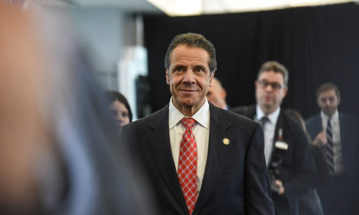 Andrew Cuomo, governor of New York, arrives to an opening ceremony of Delta's new terminal at LaGuardia airport in New York City on Oct. 29, 2019. (Stephanie Keith/Getty Images)