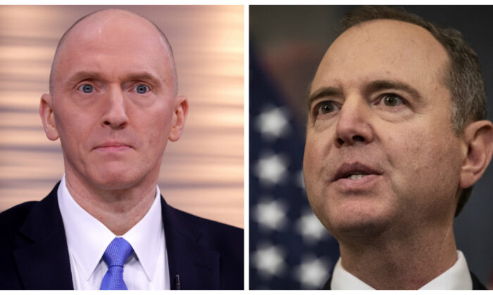 Left, former Donald Trump campaign aide Carter Page participates in a discussion on 'politicization of DOJ and the intelligence community in their efforts to undermine the president' hosted by Judicial Watch at the One America News studios on Capitol Hill in Washington on May 29, 2019. (Chip Somodevilla/Getty Images) On the right, House Intelligence Chairman Adam Schiff (D-Calif.) speaks during a press onference after the House of Representatives voted to impeach President Donald Trump on Dec. 18, 2019. (Drew Angerer/Getty Images)