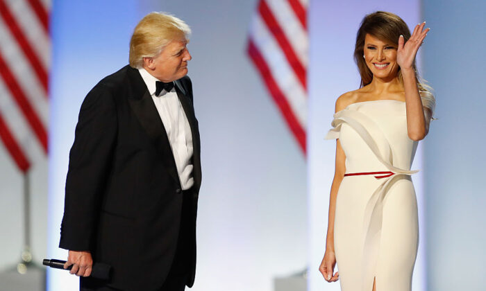 President Donald Trump introduces First Lady Melania Trump at the Freedom Inaugural Ball at the Washington Convention Center in Washington on Jan. 20, 2017.  (Aaron P. Bernstein/Getty Images)