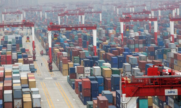 A shipping container area at Yangshan Port of Shanghai, China on May 11, 2012. (Aly Song/Reuters)