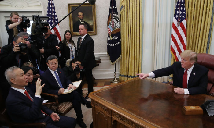 President Donald Trump speaks during a meeting with Chinese Vice Premier Liu He (L), in the Oval Office at the White House on Jan. 31, 2019 in Washington, DC. (Mark Wilson/Getty Images)
