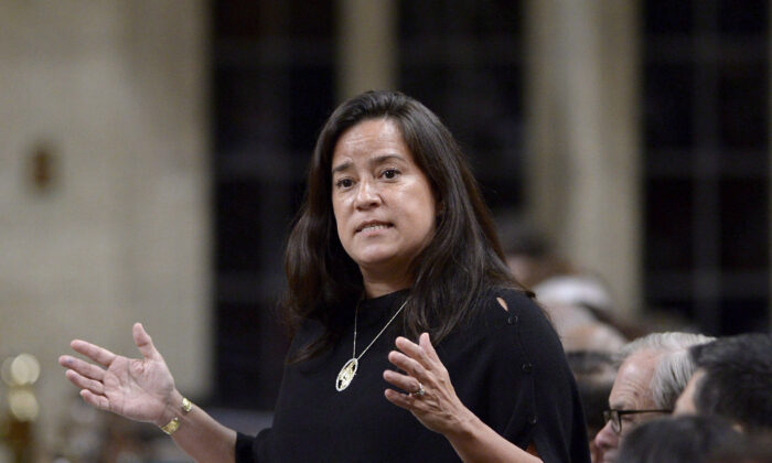 Former minister of justice and attorney general of Canada Jody Wilson-Raybould rises during question period in the House of Commons on Parliament Hill in Ottawa on April 19, 2018. At the centre of the SNC-Lavalin scandal, the now-independent MP feels justice has been served. (The Canadian Press/Justin Tang)