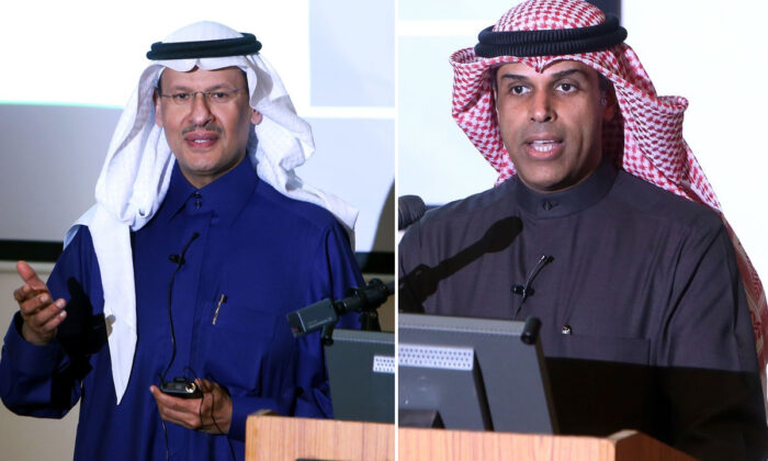 Kuwaiti Oil Minister Khaled al-Fadhel (R) and Saudi Oil Minister Prince Abdulaziz bin Salman (L) speak during a ceremony marking the signing of an agreement to reproduce oil in the neutral zone between Kuwait and Saudi Arabia, at Wafra about 100 kilometres south of Kuwait City on Dec. 24, 2019. (YASSER AL-ZAYYAT/AFP via Getty Images)