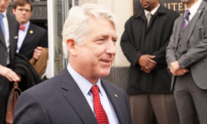 Virginia Attorney General Mark Herring leaves the Walter E. Hoffman U.S. Courthouse in Norfolk, Va., on Feb. 4, 2014. (Jay Paul/Getty Images)